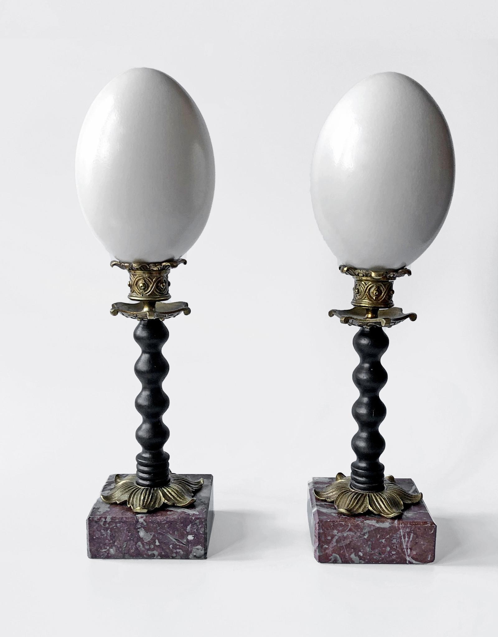 AJvB Emu egg pair on ornamental base