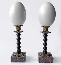 AJvB Emu egg pair on ornamental base