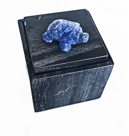 AJvB petrified wooden box with sodalite turtle