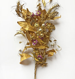 Vintage gilt floral branch with glass pearls and purple accents