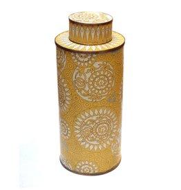Fabienne Jouvin Cloisonné enameled tea box, graphic yellow, tall
