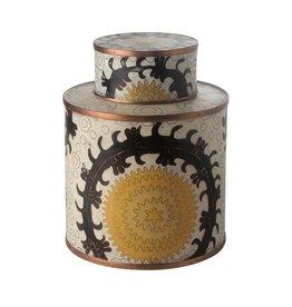 Fabienne Jouvin Cloisonné enameled tea box, Uzbek yellow