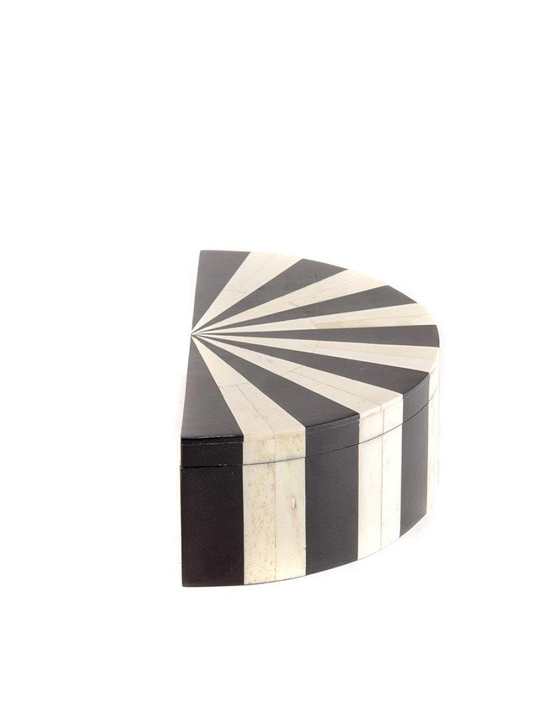 Bone box 1/2 circle black & white