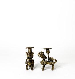 Vintage bronze lion candleholders