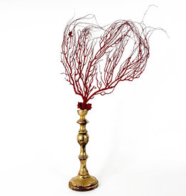 Marieke Ariëns Interior Objects Red sea fan on gilded wooden pedestal