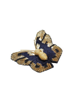 Blue & gold butterfly embroidered brooch