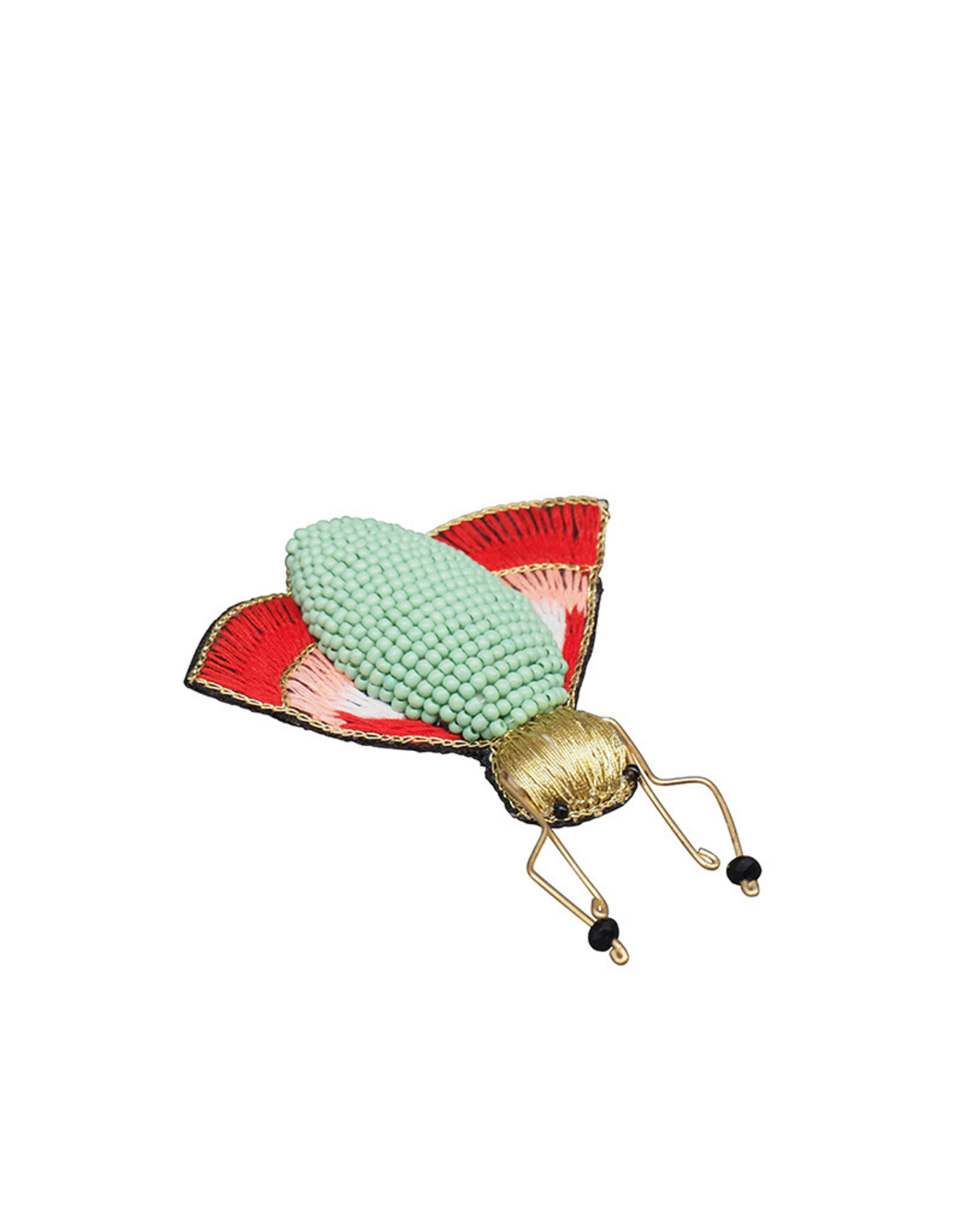 Green insect embroidered brooch