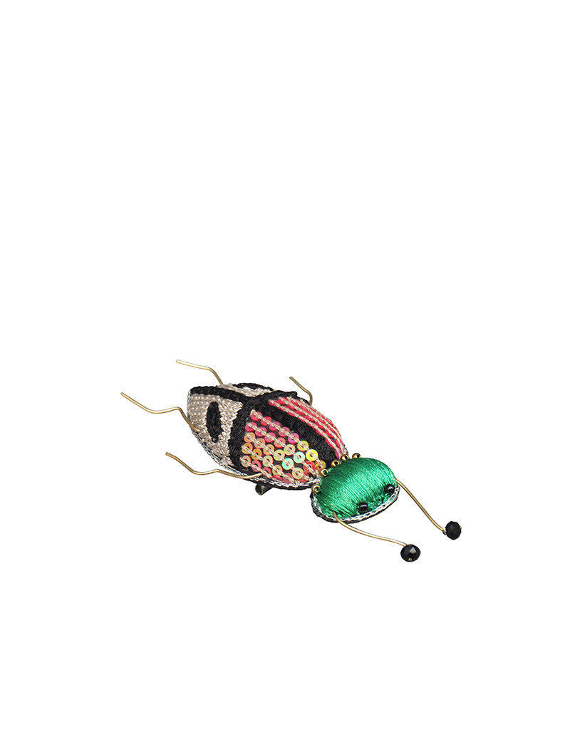 Insect embroidered brooch