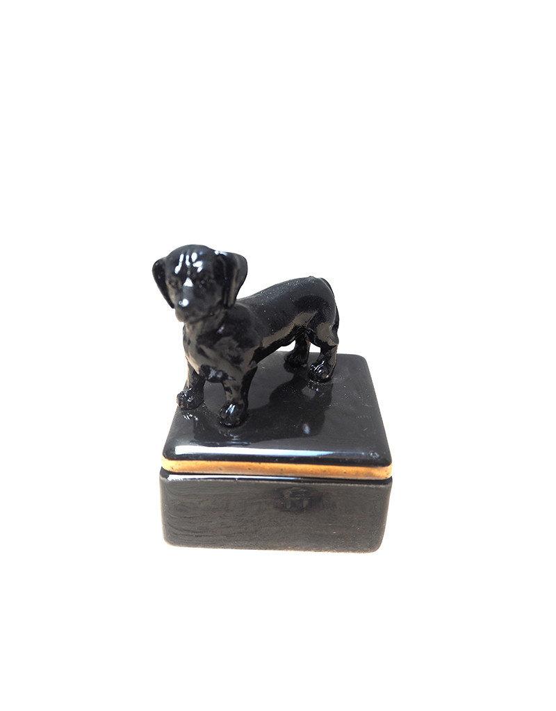 Mini ceramic box with black dog