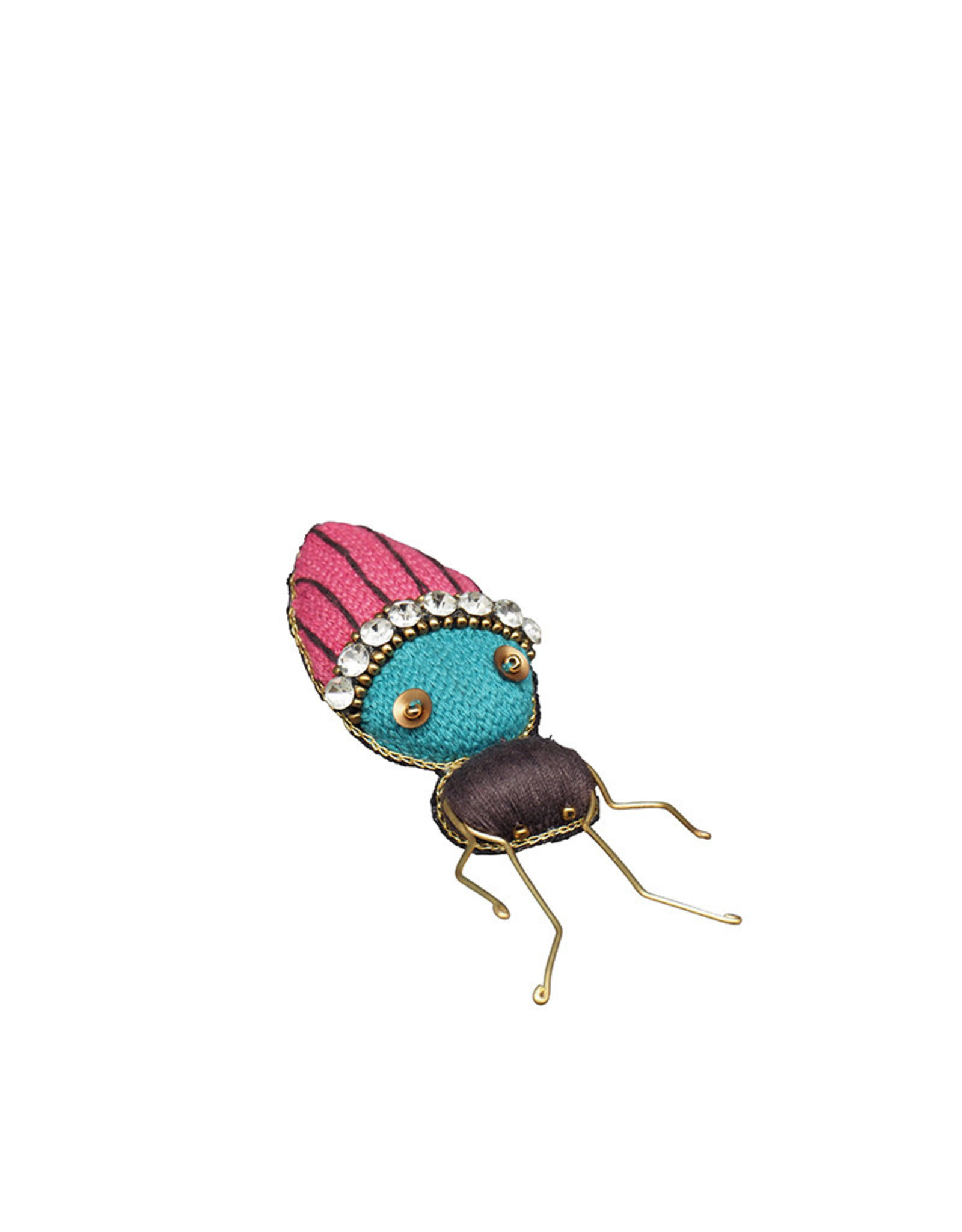 Pink & blue insect embroidered brooch