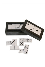 Game box holding a set of dominoes