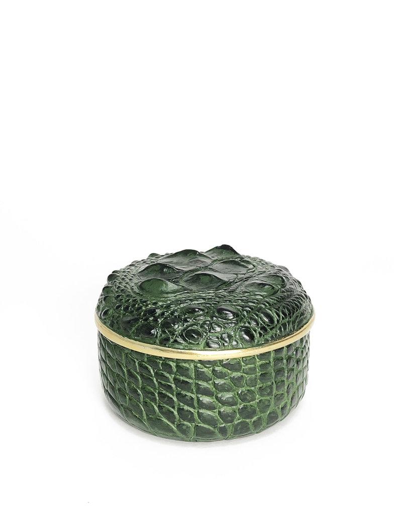 Round crocodile-look box