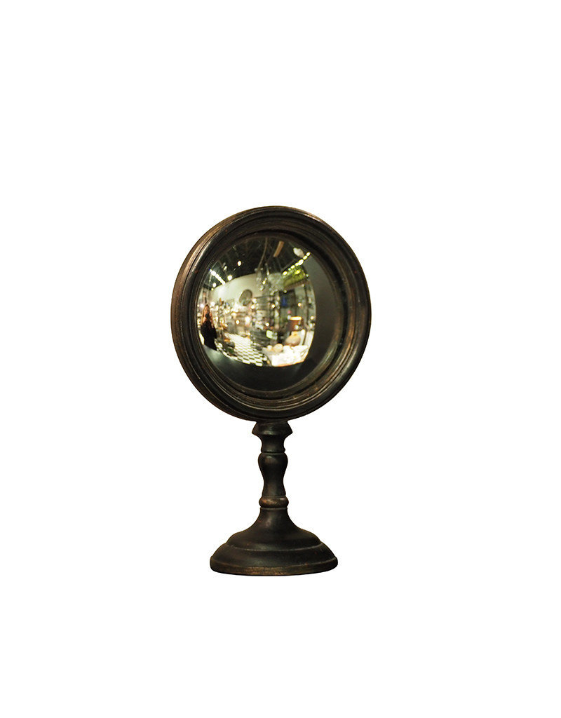 Small convex mirror on stand