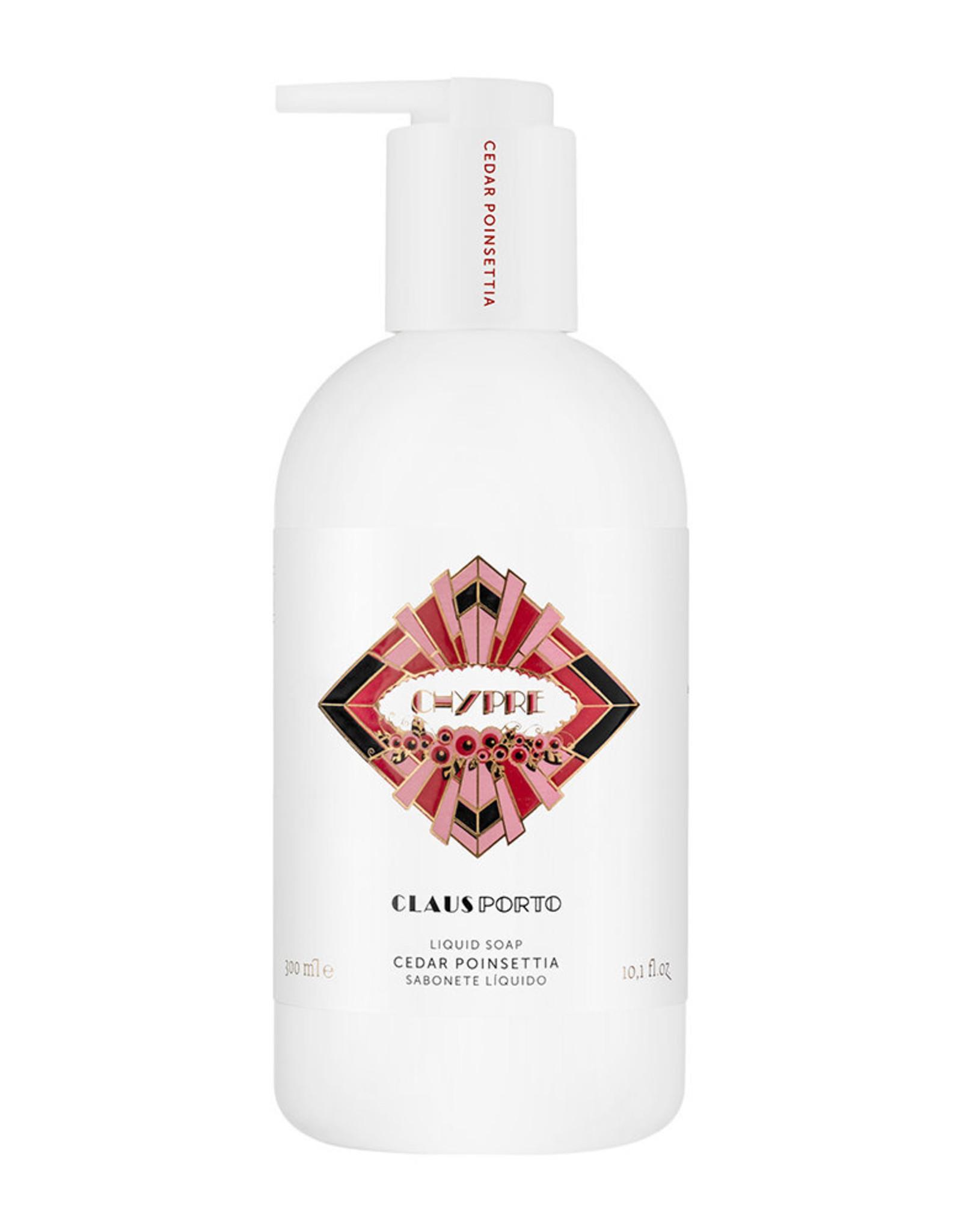 Claus Porto Chypre - cedar poinsettia caring liquid soap