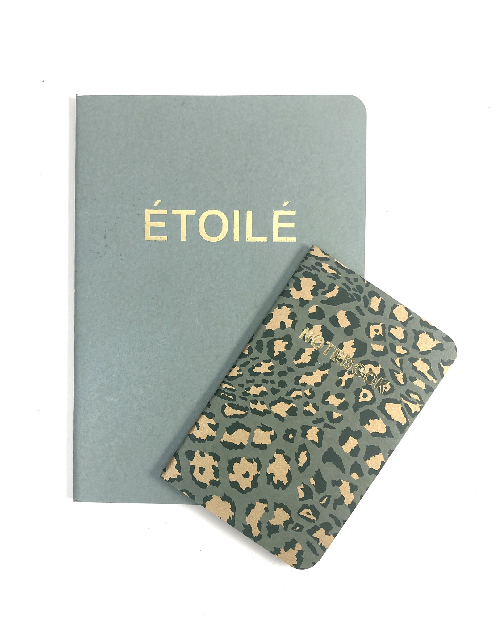 SET of 2, Soft Cover Notebooks, Jadeite Etoile + agave green Leopard