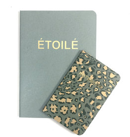 SET of 2, Soft Cover Notebooks, Etoile & Green Leopard