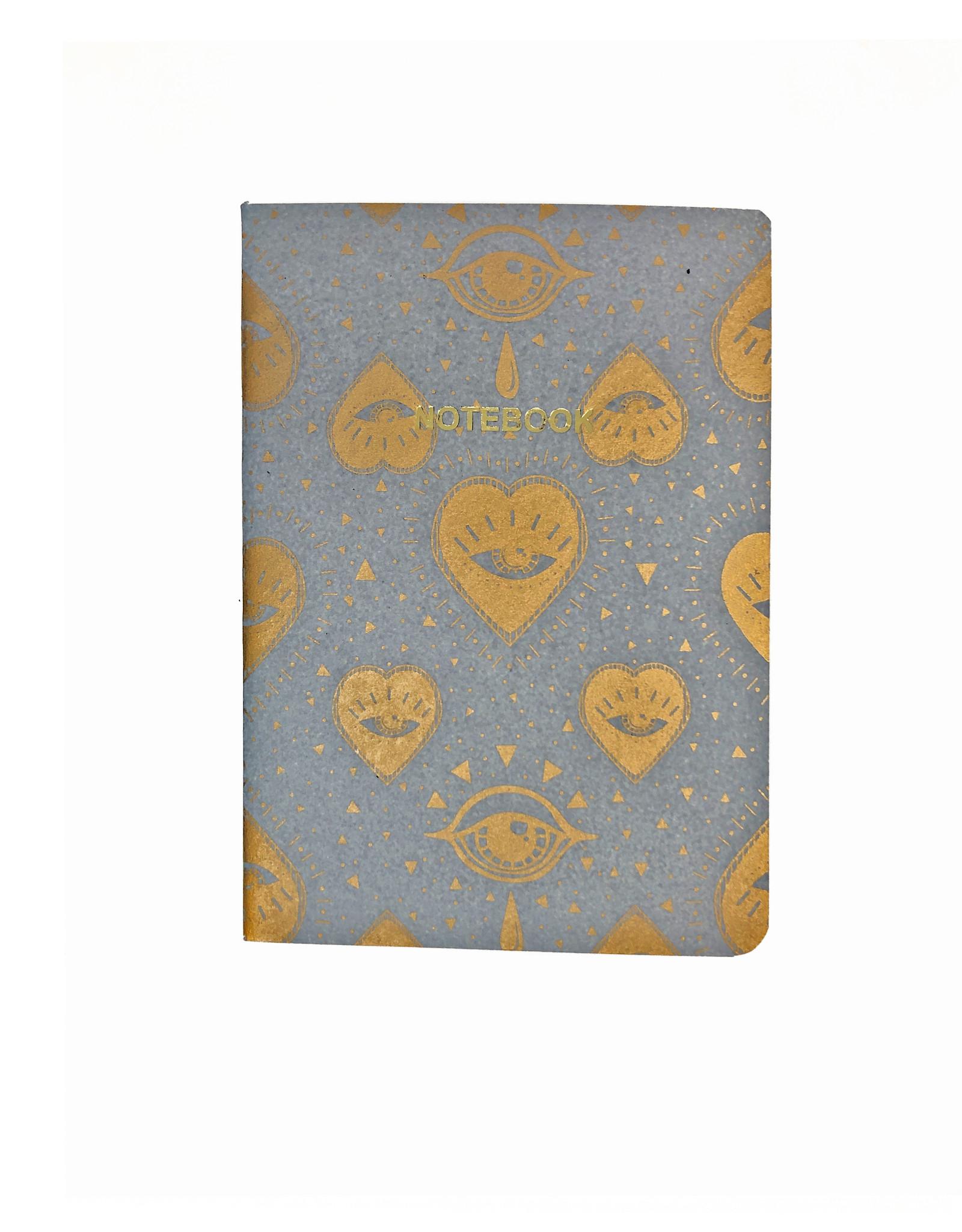 Soft Cover Notebook A5, Grey Dawn Heart Eyes