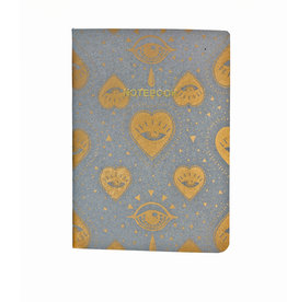 Soft Cover Notebook A5, Grey Dawn Heart Eyes