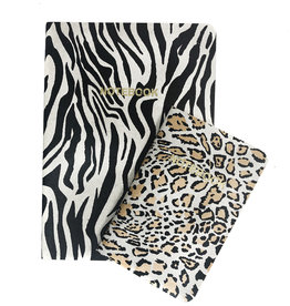 SET of 2, Soft Cover Notebooks, Zebra Glacier + leopard