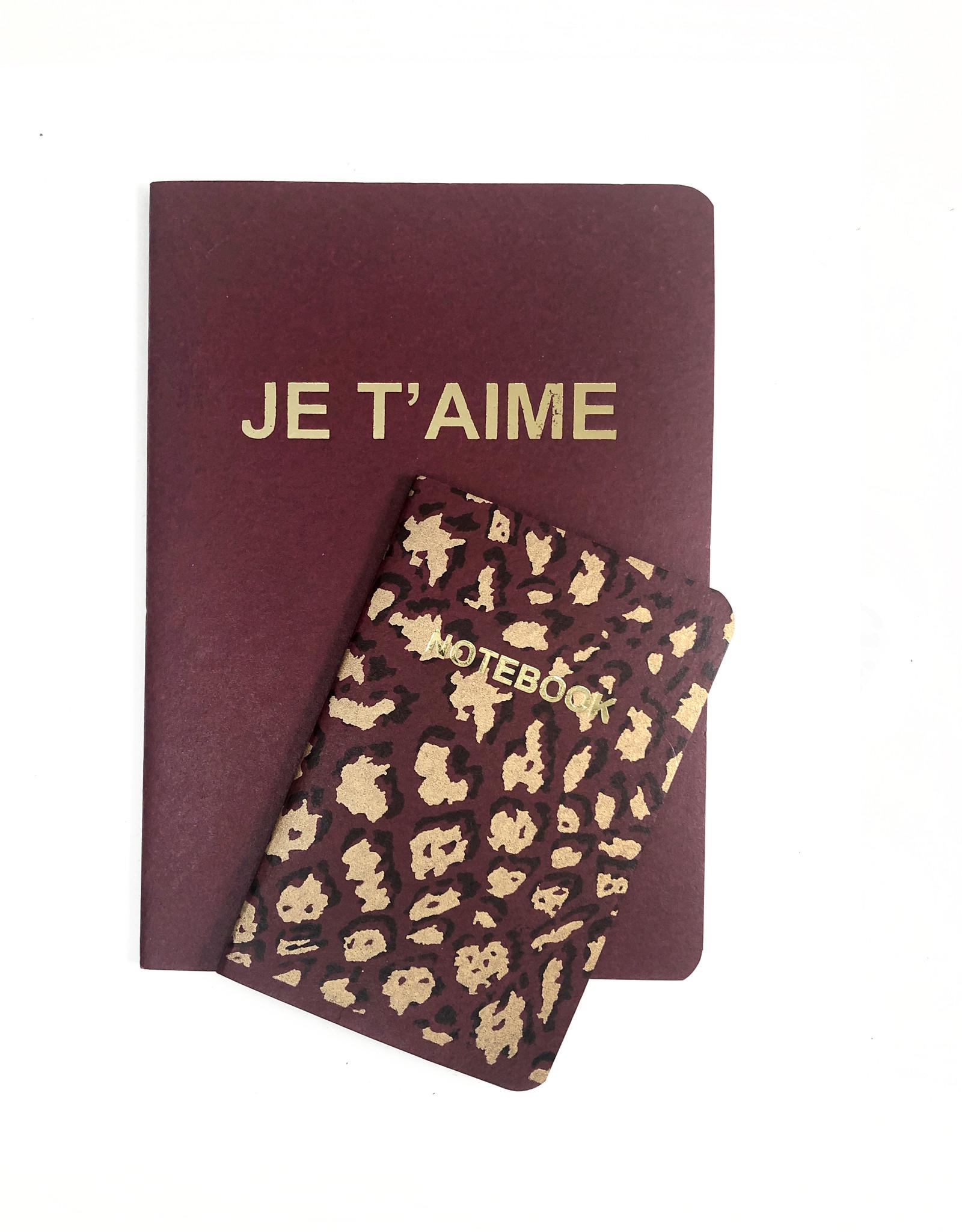 SET of 2, Soft Cover Notebooks, Windsor Je taime + Leopard