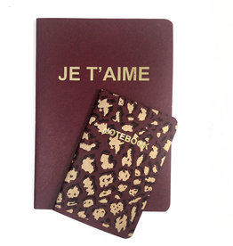 SET of 2, Soft Cover Notebooks, Windsor Je taime + Leopard
