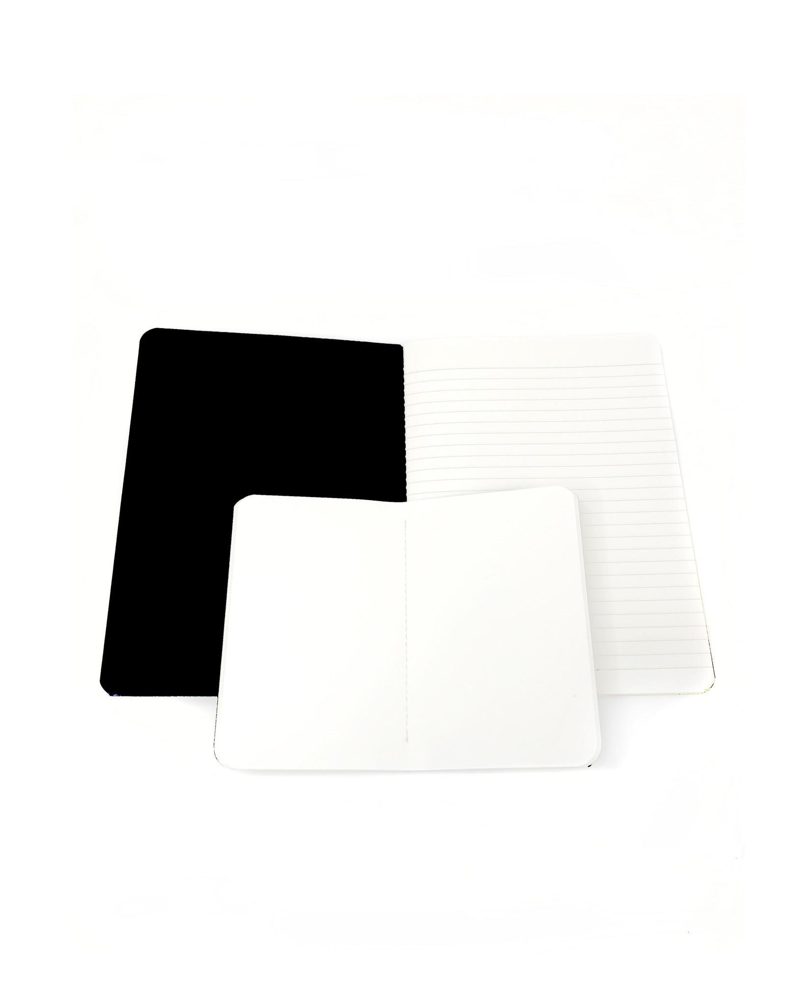 SET of 2, Soft Cover Notebooks, Zebra Glacier + leopard