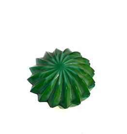 Vintage small malachite glass cut bowl with lid