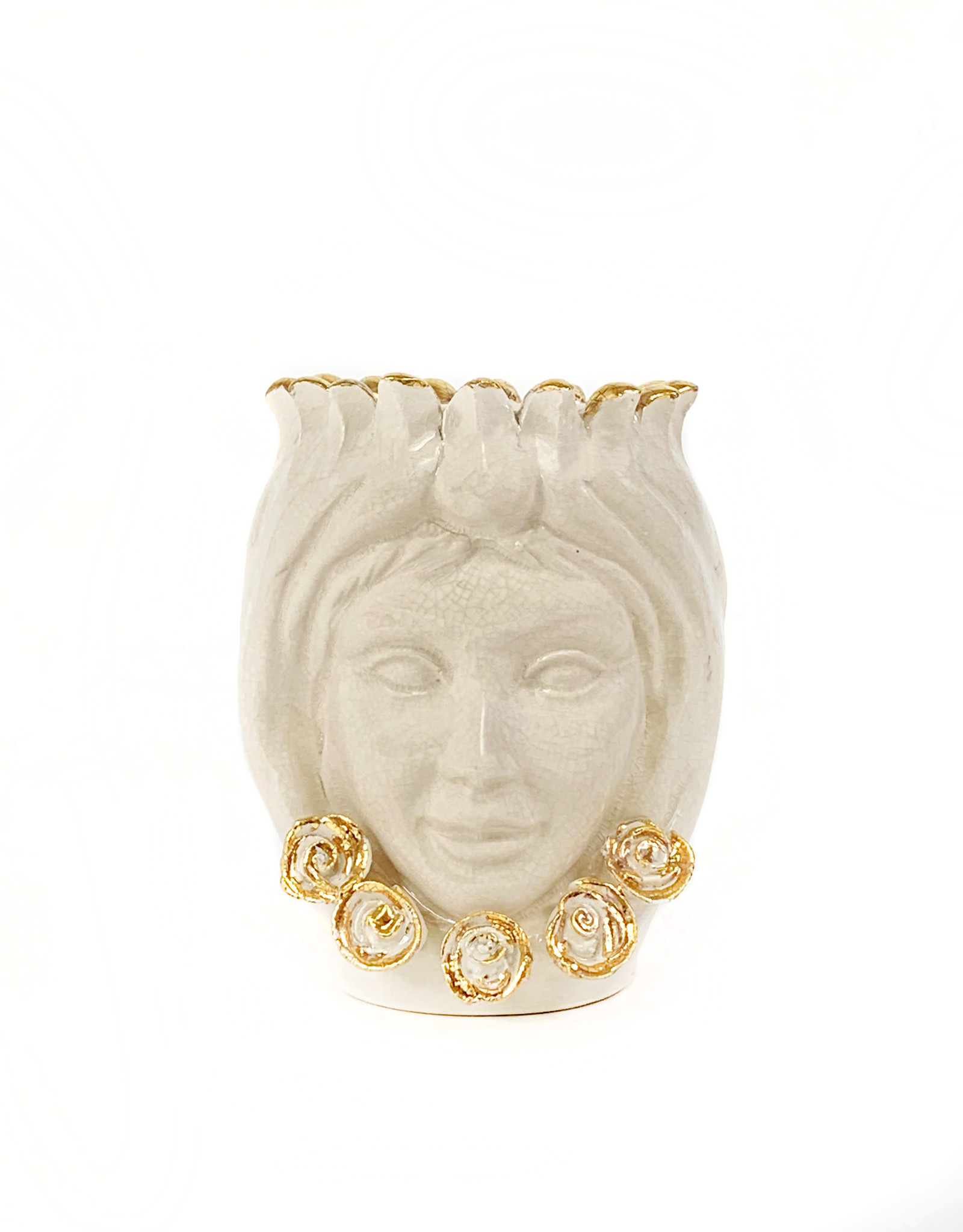 Agata Treasures Golden Nunzia cream with gold head vase