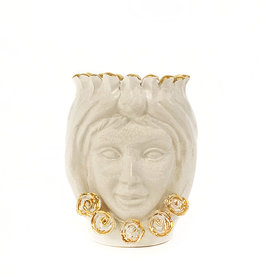 Agata Treasures Golden Nunzia cream with gold head moro vase