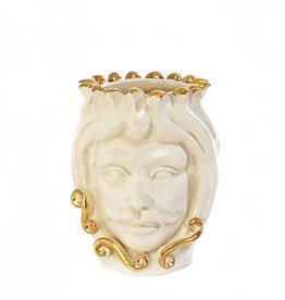 Agata Treasures Golden Tancredi cream with gold moro head vase
