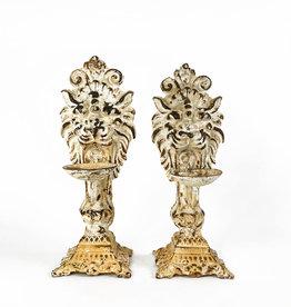 Vintage set of lion candle holders