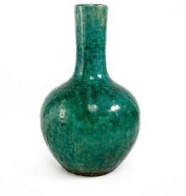 Round bulb green terracotta vase