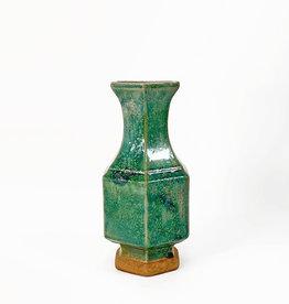 Hexagonal green terracotta vase