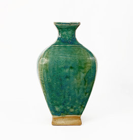 Square bulb green terracotta vase