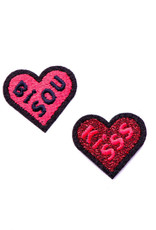 Macon&Lesquoy Patch - two  patches - bisous and kiss haerts