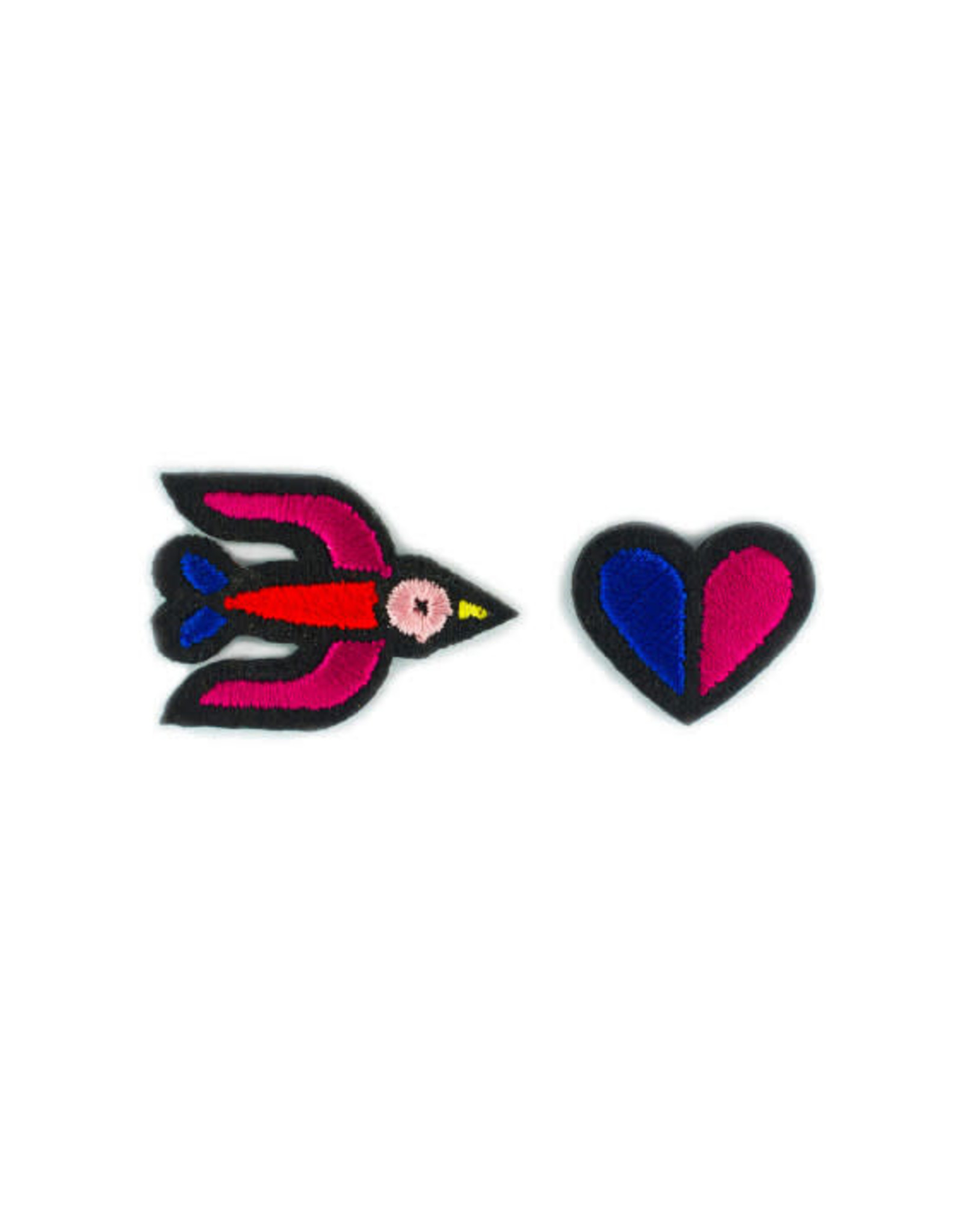Macon&Lesquoy Patch - two patches - Red Swallow and two colored heart (blue + red)