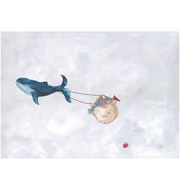 Marlies Boomsma Print 'Flying whale with presents'