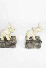 Vintage alabaster and marble elephant book ends