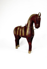 Vintage Italian decorative horse wood with copper decorartions - Large