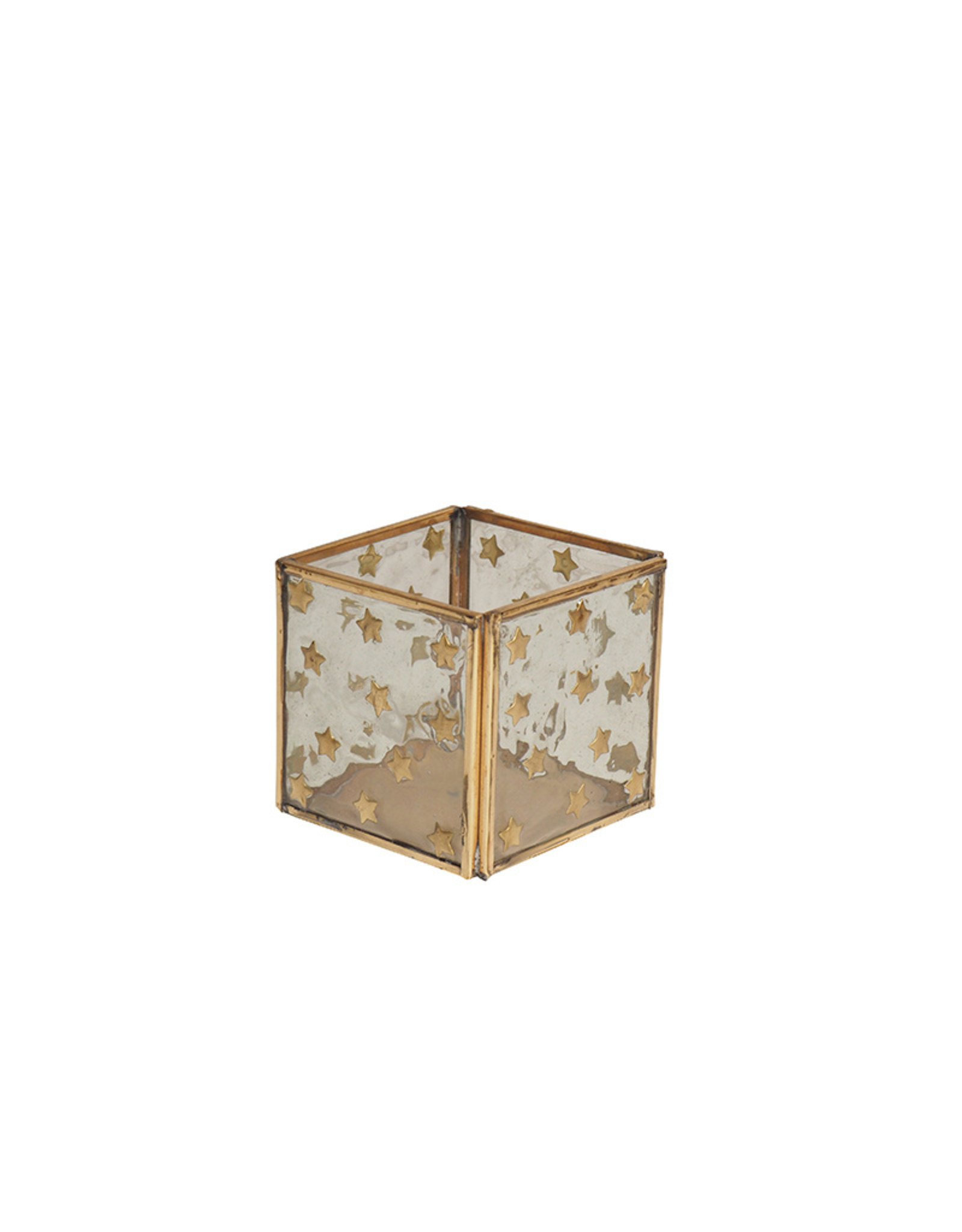 Small square candleholder with stars