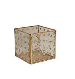 Large square candleholder with stars