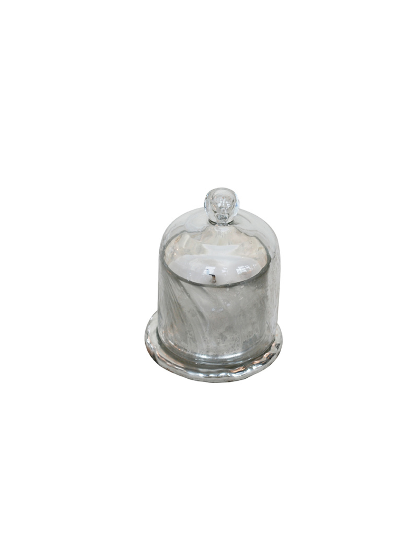 Large candle in antique silver holder in glass