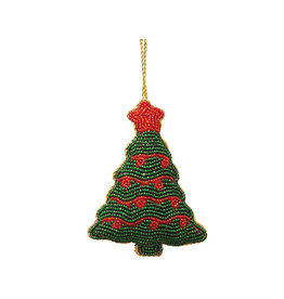 Beaded Christmas tree ornament