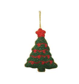 Christmas tree beaded ornament