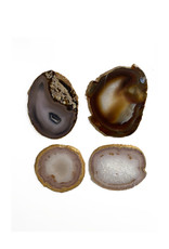 Marieke Ariëns Interior Objects Agate gold rimmed coasters set
