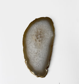 Marieke Ariëns Interior Objects Atelier - One agate gold rimmed coaster. Approx 14 x 9 cm - d