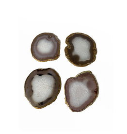Marieke Ariëns Interior Objects Atelier - Set of four agate gold rimmed coasters. 10 x 10 cm II
