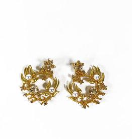 Vintage Oscar de la Renta earrings birds and flowers