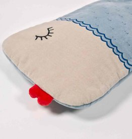 Blue velvet hot water bottle fish