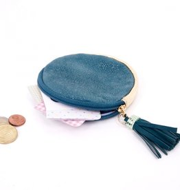 Noi Petrol round leather gold dust pouch